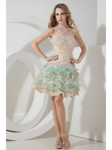 Champagne and Aqua A-line / Princess Sweetheart  Beading and Embroidery Short Prom Dress Mini-length Organza