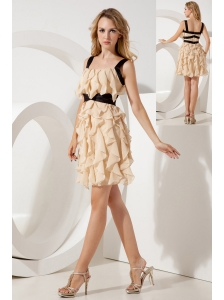 Champagne Empire Straps Ruffles Short Prom / Homecoming Dress Mini-length Chiffon