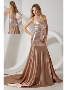 Brown Empire Sweetheart Prom / Evening Dress Court Train Sequin and Elastic Woven Satin