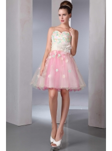 Colorful A-line Sweetheart Short Prom Dress Organza Appliques Mini-length