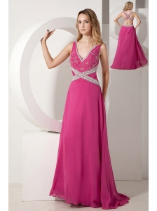 Hot Pink A-line V-neck Appliques With Beading Prom dress Floor-length Chiffon