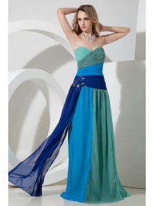 Multi-color Empire Sweetheart Beading Prom Dress Floor-length Chiffon