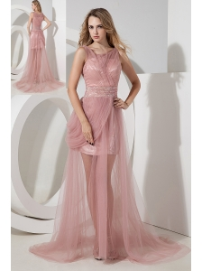 Light Pink Column Scoop Beading Prom Dress Brush Train Tulle