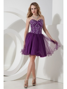 Purple A-line / Princess Sweetheart Beading Short Prom Dress Knee-length Organza