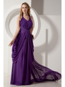 Purple Column Halter Court Train Prom / Evening Dress Chiffon Beading