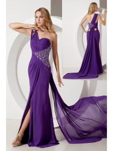 Purple Column One Shoulder Beading Prom Dress Watteau Train Chiffon