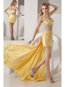 Sexy Detachable Yellow Straps High-low Prom Dress with Beading