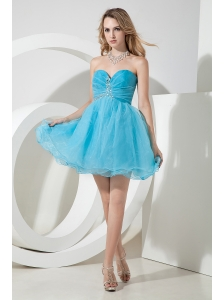 Teal A-line / Princess Sweetheart Beading Prom Dress Mini-length Organza