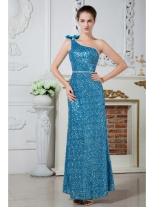Teal Column One Shoulder Prom Dress Ankle-length Sequin Beading