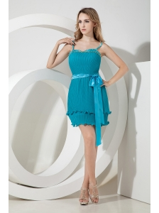 Teal Column Spaghetti Straps Beading and Bow Short Prom Dress Mini-length Organza