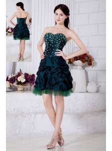 Dark Green Princess Sweetheart Short Prom / Homecoming Dress Taffeat Beading Mini-length