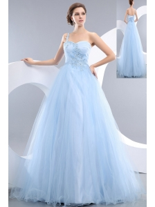 Beautiful Baby Blue A-line One Shoulder Prom / Evening Dress Tulle Appliques Floor-length