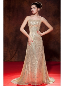 Beautiful Champagne Prom Dress Sweetheart Brush Train Sequin Empire