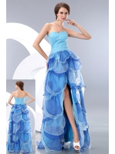 Beautiful Light Blue Empire Sweetheart Homecoming Dress High-low Organza Beading