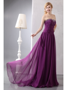 Beautiful Dark Purple Empire Strapless Homecoming Dress Brush Train Chiffon Beading