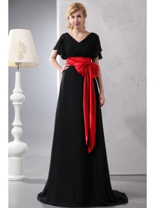 Beautiful Red and Black V-neck Bow Prom Dress  Brush Train Chiffon and Taffeta Empire