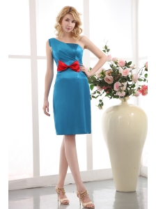 Teal Column One Shoulder Bridesmaid Dress Under 100 Mini-length Taffeta Bow