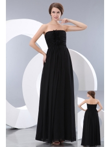 Cheap Black Bridesmaid Dress Strapless Floor-length  Chiffon Hand Made Flowers Empire