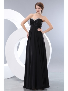 Cheap Black Empire Prom / Evening Dress Beading Sweetheart Floor-length Chiffon