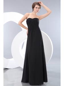 Cheap Black Sweetheart Ruch Bridesmaid Dress Empire Floor-length Chiffon
