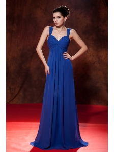Cheap Blue Prom Dress Empire Straps Brush Train Chiffon Ruch