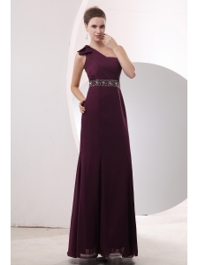 Cheap Burgundy Prom / Evening Dress Beading Empire One Shoulder Floor-length Chiffon