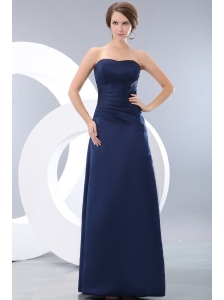 Cheap Navy Blue Strapless Ruch Bridesmaid Dress Column Floor-length Satin