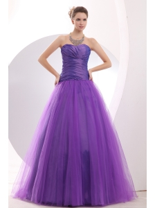 Cheap Purple Prom / Evening Dress Ruch A-line Sweetheart Floor-length Tulle