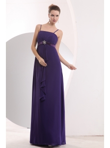 Cheap Purple Straps Sashes Bridesmaid Dress Empire Floor-length Chiffon