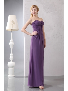 Cheap Purple Sweetheart Ankle-length Bridesmaid Dress Column Chiffon Ruch