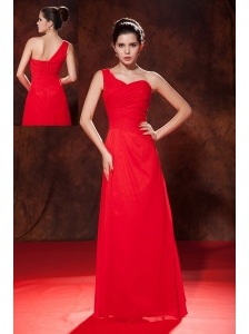 Cheap Red Empire One Shoulder Ruch Bridesmaid Dress Empire Floor-length Chiffon