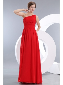 Cheap Red Prom / Evening Dress Empire One Shoulder Floor-length Chiffon Ruch