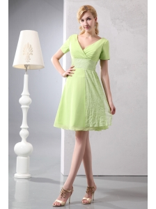 Cheap Yellow Green V-neck Mini-length Bridesmaid Dress Empire Chiffon and Sequin