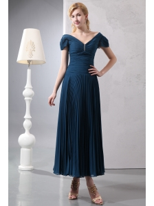 Classical Navy Blue Column V-neck Beading Mother Of The Bride Dress Ankle-length Chiffon