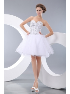 Cute White A-line / Princess Sweetheart Evening Dress Organza Beading Mini-length