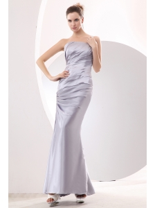 Discount Silver Column One Shoulder Ruch Prom / Evening Dress Ankle-length Taffeta