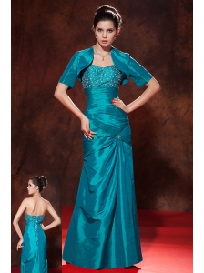 Discount Teal Column / Sheath Sweetheart Beading Prom Dress Floor-length Taffeta