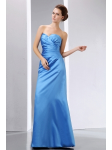 Elegant Blue Column Sweetheart Ruch Bridesmaid Dress Floor-length Taffeta