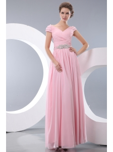 Elegant Baby Pink Empire V-neck Beading Bridesmaid Dress Floor-length Chiffon