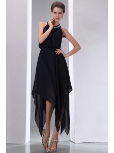 Elegant Black Empire Halter Asymmetrical Evening Dress Chiffon Beading