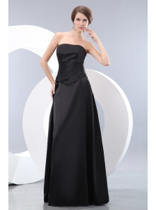 Elegant Black Empire Strapless Ruch Bridesmaid Dress Floor-length Taffeta