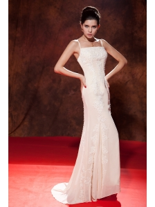 Elegant White Mermaid Spaghetti Straps Celebrity Dress Brush Train Chiffon Embroidery