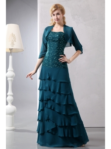 Teal Turquoise Column Strapless Beading Mother Of The Bride Dress Floor-length Chiffon