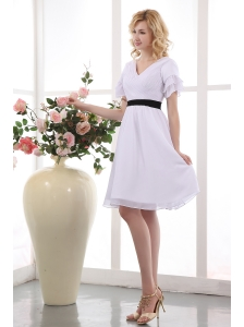 Elegant White A-line V-neck Mini-length Bridesmaid Dress Chiffon Ruch