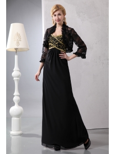 Gorgeous Black Column Sweetheart Sequins Mother Of The Bride Dress Ankle-length Chiffon