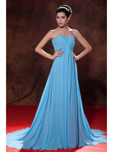 Lovely Aqua Blue Empire Strapless Evening Dress Court Train Chiffon Ruch