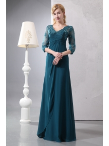 Lovely Turquoise Column V-neck Lace Mother Of The Bride Dress Floor-length Chiffon