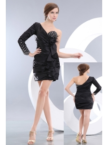 Low Price Black Column One Shoulder Beading Little Back Dress Mini-length Taffeta