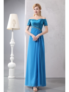 Modest Sky Blue Column Prom Dress Off The Shoulder Ankle-length Taffeta and Chiffon Beading