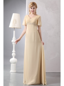 Modest Light Yellow Empire Prom Dress V-neck Chiffon Beading Floor-length